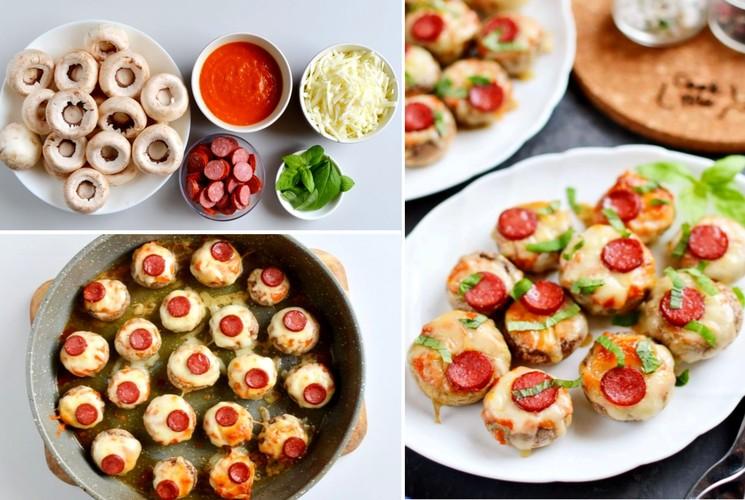 Как приготовить фаршированные грибы с сыром и салями
