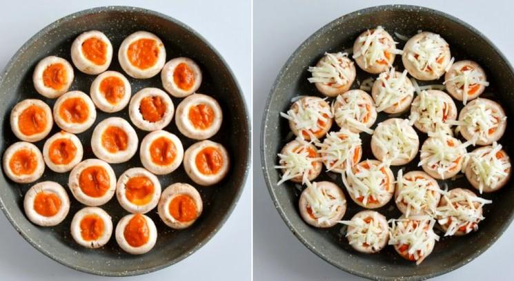 Фаршированные грибы с колбасой и сыром - шаг 2