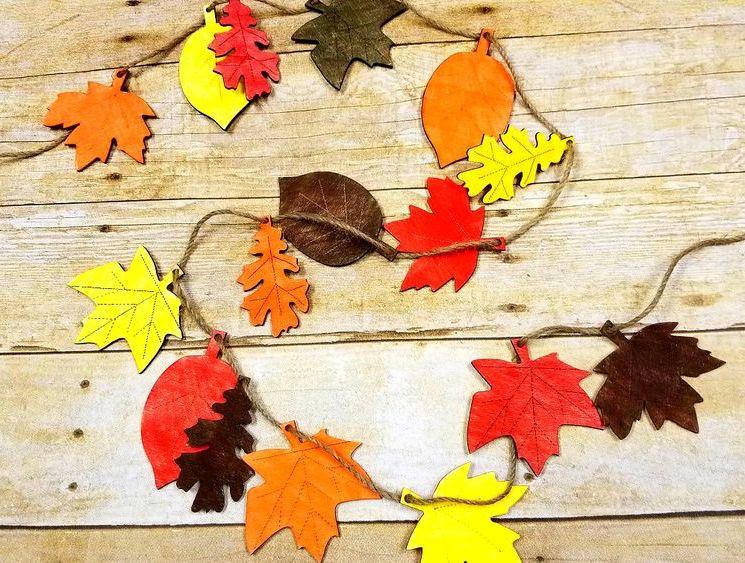 Осенняя гирлянда из листьев в детский сад