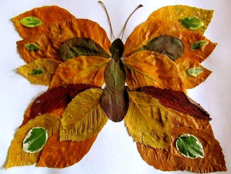 Как сделать бабочку из листьев в детский сад