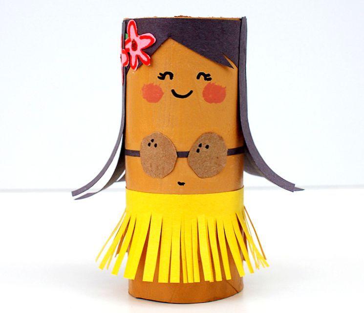 Как сделать поделку из картона - Гавайская девочка