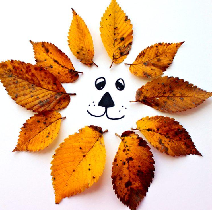 Аппликация в садик своими руками - лев из листьев