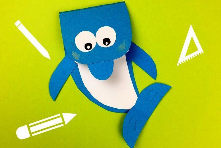 Аппликация в школу - делаем акулу из бумаги