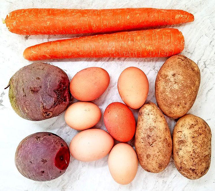 Овощи для селедки под шубой
