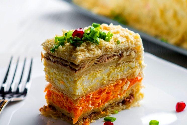 """Торт-салат """"Наполеон"""" - закуска к Новогоднему столу"""
