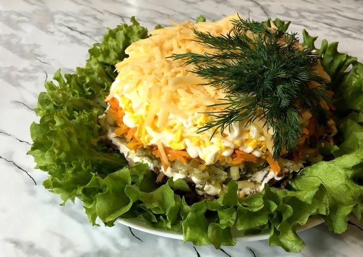 Пошаговый рецепт салат с куриной печенью и сыром