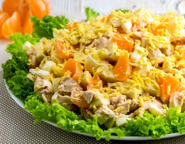 Рецепт салата с мандаринами и курятиной