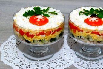Рецепт слоеного салата к Новому году