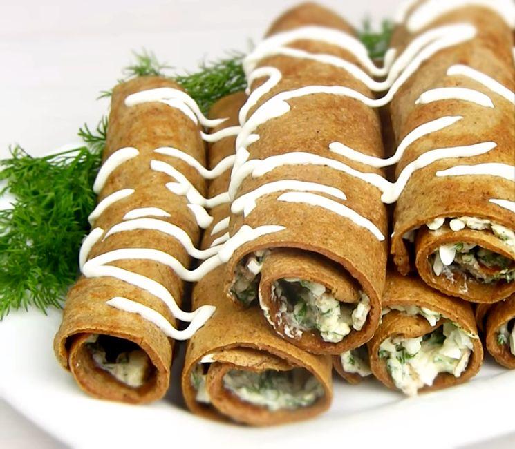 Рецепт печеночных рулетов с начинкой