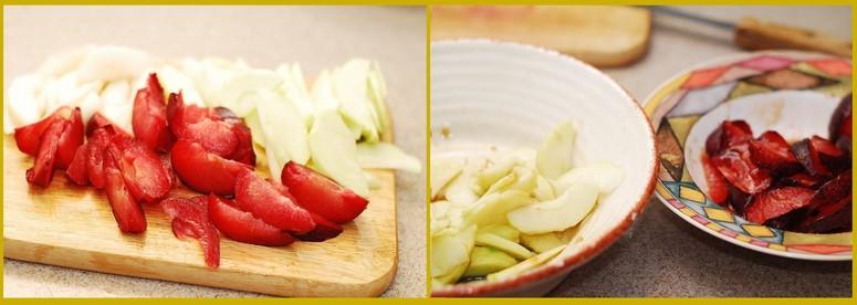 Ингредиенты для слоечек с яблоком и сливой